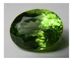 24.4 Carat available rutile peridot with (Holy Roots)